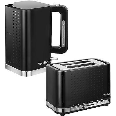 VonShef 3000W 1.7 Litre Black Electric Kettle and 2 Slice Wide Slot Toaster Set
