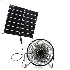 solar fan powered 10w usb panel portable for home or outdoor cooling. Black Bedroom Furniture Sets. Home Design Ideas
