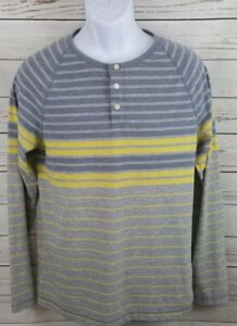 9bff36a2 Image is loading Mossimo-Yellow-Gray-Striped-Long-Sleeves-Henley-Shirt-