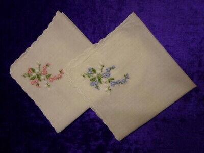 Damen Taschentücher 2 Stück Mit Stickerei 60er Jahre, Unbenutzt Elegant Und Anmutig