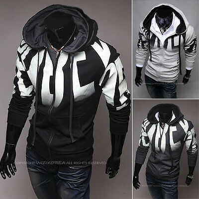 Casual Men Zip Up Hoodie Hooded Jacket Sweatshirt Sport Coat Clothes Cardigan