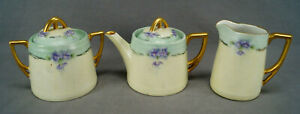 Carl-Tielsch-Hand-Painted-Purple-Violets-Green-Yellow-Gold-Teapot-Creamer-Sugar