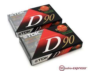 TDK-D90-IECI-TYPE-1-DIGITAL-DYNAMIC-AUDIO-CASSETTE-BLANK-BRAND-NEW-LOT-OF-2X