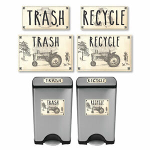 Vintage-Farmhouse-Styled-Country-Tractor-Trash-and-Recycle-Label-Stickers