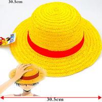 "Anime One Piece Straw Hat Monkey D Luffy Cosplay Hats Handwork Pirates Cap 11.5"""