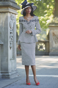 Size 6 Debra Houndstooth Skirt Suit church career by Ashro new