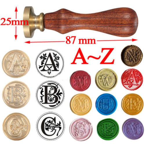 Vintage Alphabet Wax Brass Head Stamp Seal Letter Sealing Classic Wooden Handle