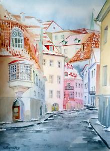 european old town watercolor paper cityscape impressionism claude monet
