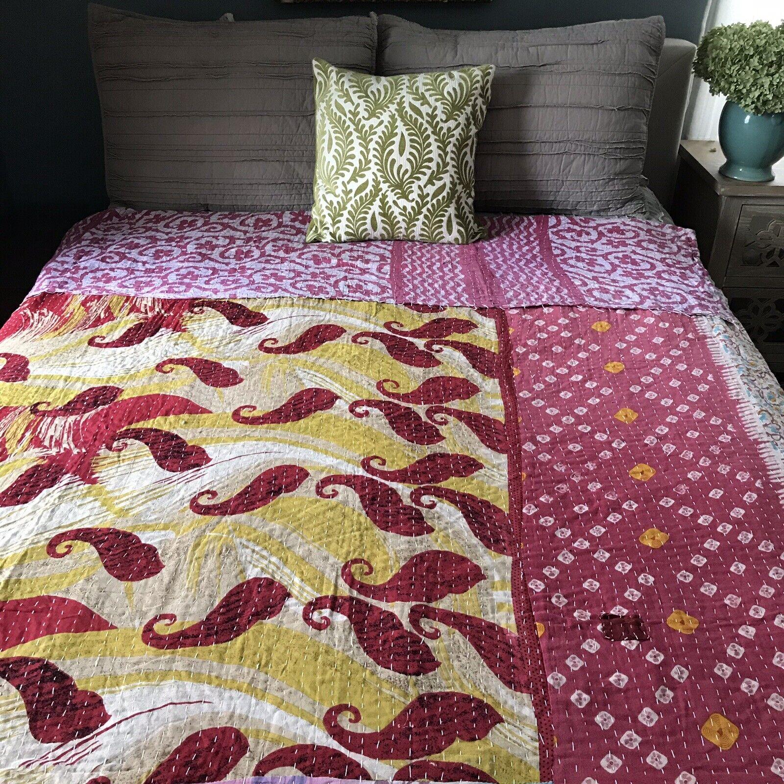Vintage Kantha Quilt. Sundance Catalog Kantha Throw. Reversible Twin Bedspread.