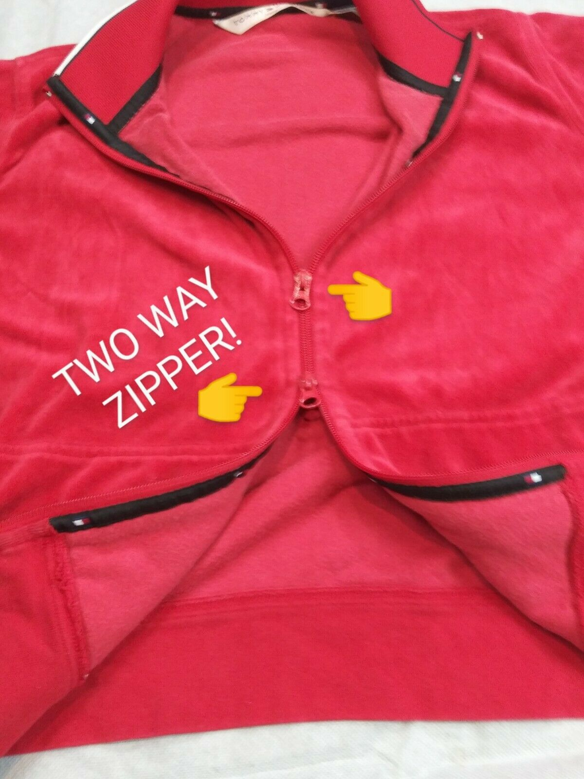 Vintage Tommy Hilfiger Red Velour track jacket 2 way zipper XL 90s 2000s