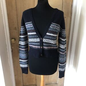 Fat Face Navy Blue Fair Isle Button Up Wool Blend Cropped Cardigan Size UK 12