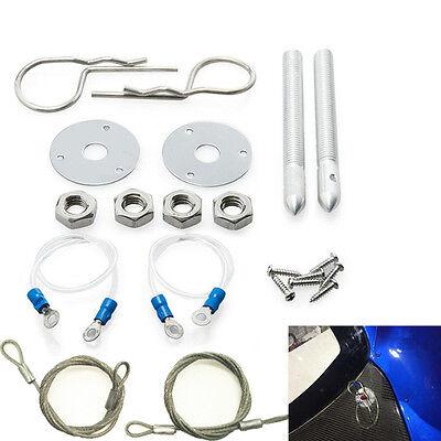 "DIY Car  Muscle 3//16/"" Chrome Hair Pin Style Hood Pin Set W// Lanyards 1//2/"" Studs"