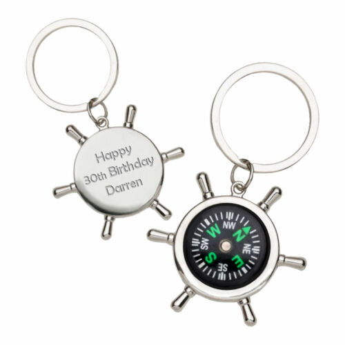 Personalised Mini Nautical Chrome Compass Keyring Key Chain Engraved Gift