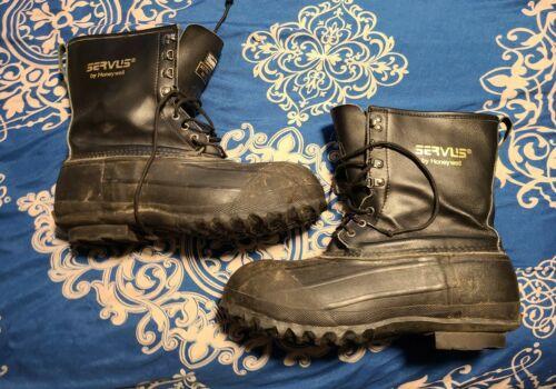 Vintage Servus Black yellow rubber fireman firehouse firfighting hiking work boots work western farm mens cowboy country 11 12