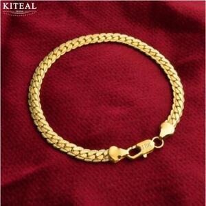 Damen-Armband-Gliederarmband-925-Sterlingsilber-Gold-plt-20-5cm-Silber-Schmuck