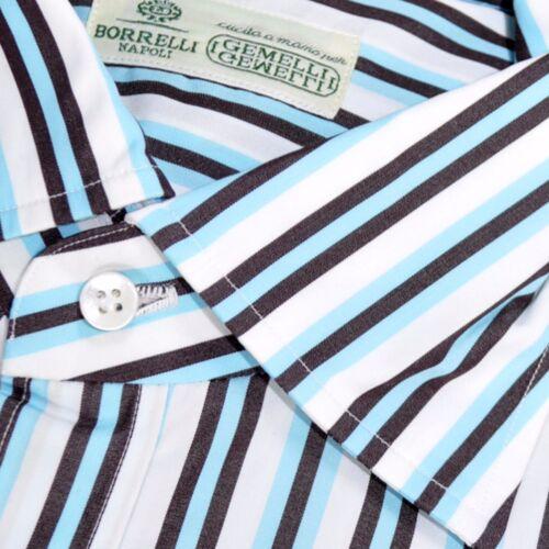 Brown 2 1 Stripes 160192 White Luigi 39 Sky 100 Nieuw 15 overhemd Borrelli Blue SxwZqn70gT