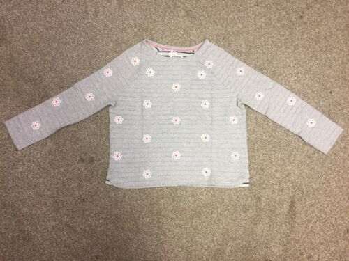 Ex Mini Boden Girls Cotton Aplique Daisy Jumper in Grey Age 9-16 UT2 Years