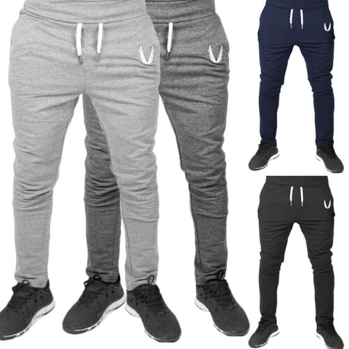 Mens Slim Fit Track Pants Gym Sports Skinny Jogging Joggers Sweat Pants Trousers