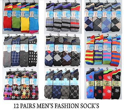 12 Pairs Of Men's Designer Socks, Cotton Rich Designs, Size 6-11, By Fresh Feel