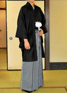 49c00bdf2 Detalles de Japonés Hombre Kimono Haori Montsuki Hakama Negro Juego de 3  Piezas Envío Rápido