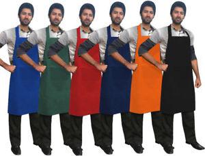 "Chef Bib Apron Chefs Cotton Bib Apron Front Pocket 26""x 37"" UNISEX"