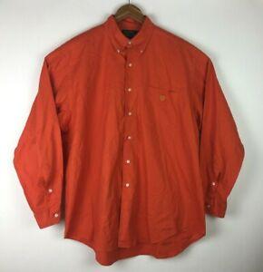 Ralph-Lauren-Men-s-Size-Large-Front-Button-Orange-Long-Sleeve-Shirt-With-Logo