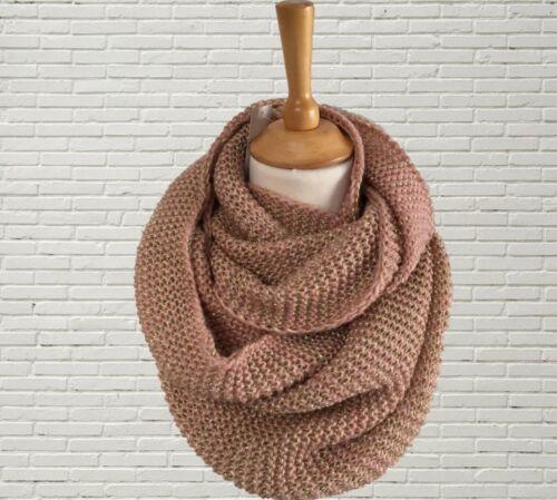 Femmes Tricot Infinity Snood écharpe Rose Hand Knit Mettalic Shimmer cadeau de Noël