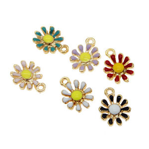 Pack-of-6-Nice-Enamel-Metal-Daisy-Flower-Charms-Multi-colors-Earrings-Pendants