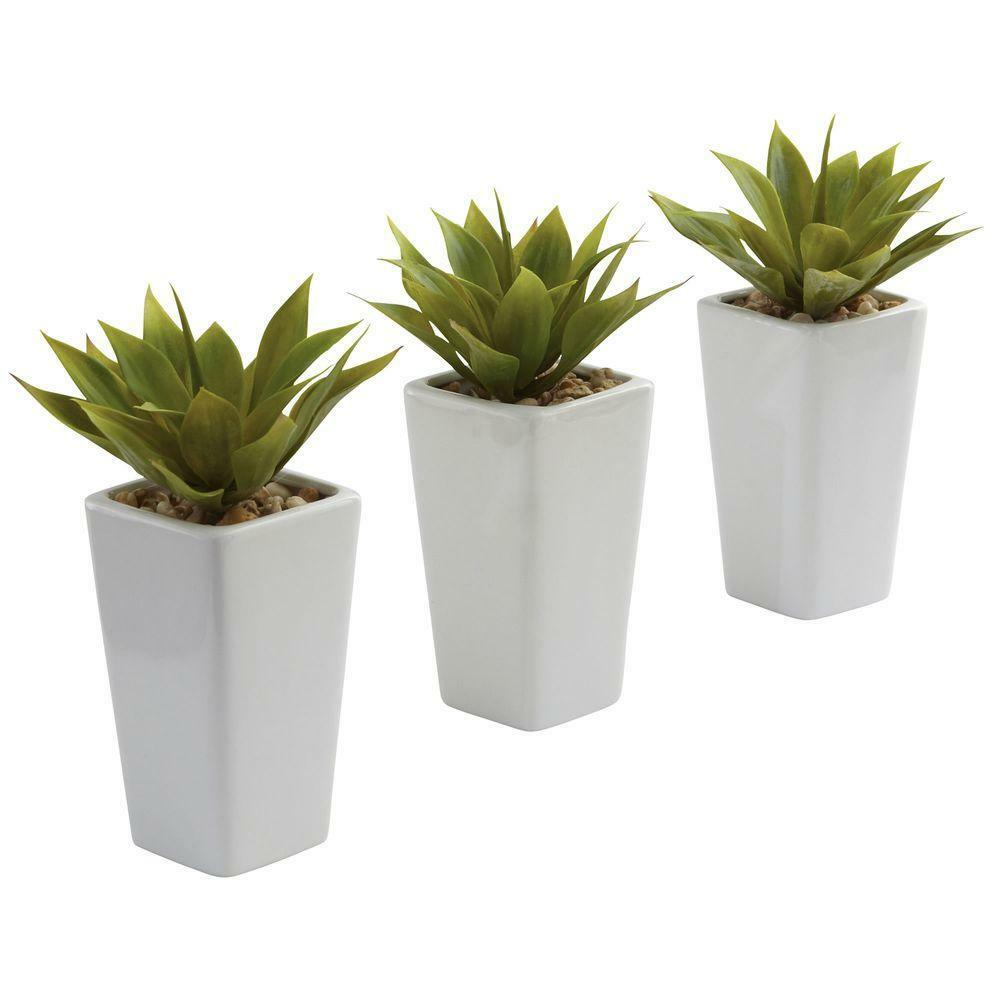Mini Agave with Weiß Planter Pot Set of 3 Artificial Plants Tabletop Home Decor