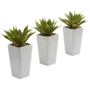 Mini Agave With White Planter Pot Set Of 3 Artificial Plants Tabletop Home Decor Ebay