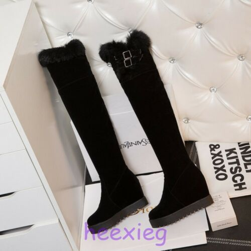 Womens Winter Rabbit Fur Trim Knee High Boots Wedge Heel Pull On Buckle Shoes SI