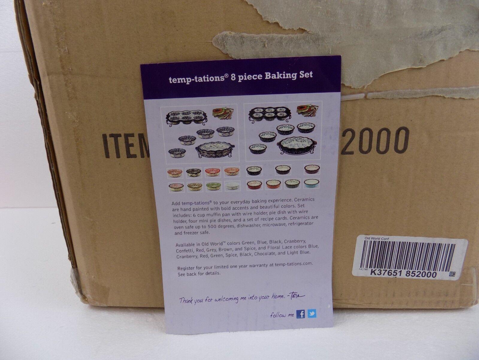 TEMPTATIONS-Neuf 8 pièces de cuisson Set dans un OLD WORLD CONFETTI couleur-New in Box