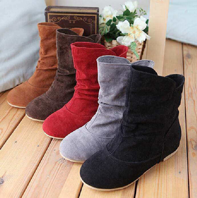 5 Colors UK2-9 Womens Cute Ankle Boots Faux Suede Flat Ankle Boots Pull On Sz
