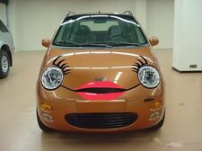 Headlight Car Eyelashes And Lip Sticker Decal For Chery Q3 Mini Funny Red