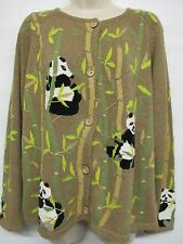BellePointe Panda Sweater Size XL Thin Knit Bear Zoo Bamboo Cardigan Brown VGC