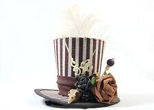 Steampunk Mini-Hut Streifen Zeitreise Vogelschädel Zeiger Gothic Fascinator Hat