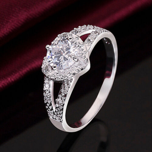 Chic Silver Plated Crystal Romantic Love Heart Ring Bridal Wedding Party Ring