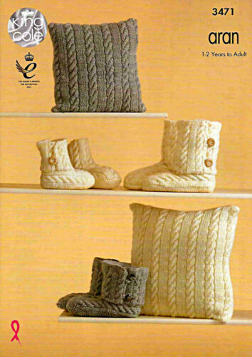 King Cole Tejer patrón 3471 ~ cableados abrazo Boots /& Cushion Covers ~ Aran ~ 1yr-Adulto