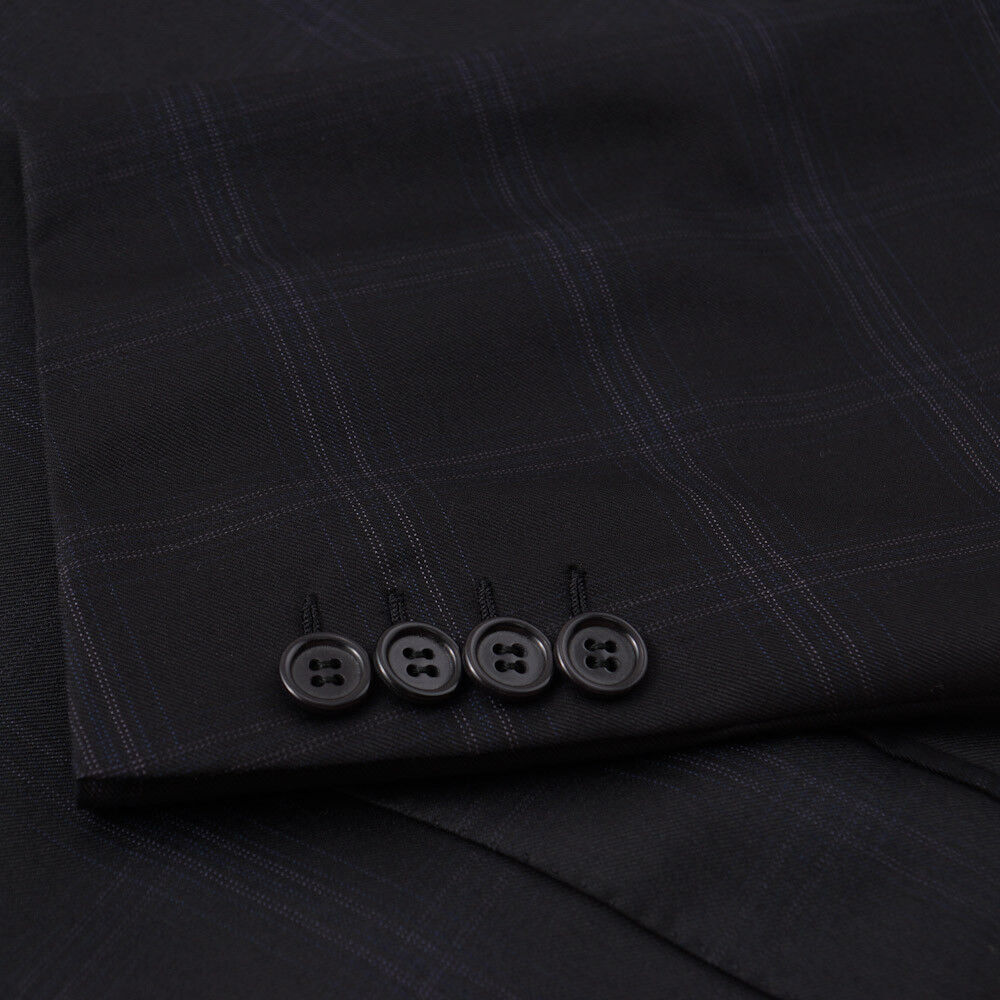 Neuf avec Étiquettes Brioni Noir-Bleu 150s Carreaux Toute L'Année Super 150s Noir-Bleu Wool ec5aa9