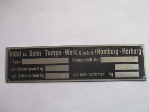 Nameplate Vidal Sohn Tempo Rapid Matador Wiking Truck Bus s37 Hamburg