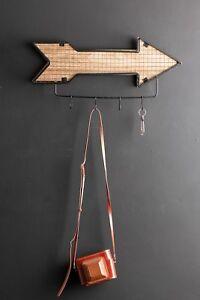 Small-Wall-Coat-Hooks-Arrow-Wire-Industrial-Style-Black-Metal-Storage-Wood
