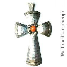 Jugendstil Silber Kreuz Anhänger Koralle Hammerschlag silver cross pendant coral
