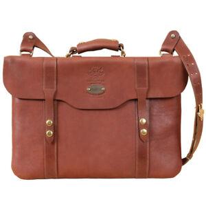 8ab59d4c6e8 Image is loading Leather-Document-Bag-Laptop-Briefcase-Shoulder-Strap-Brass-