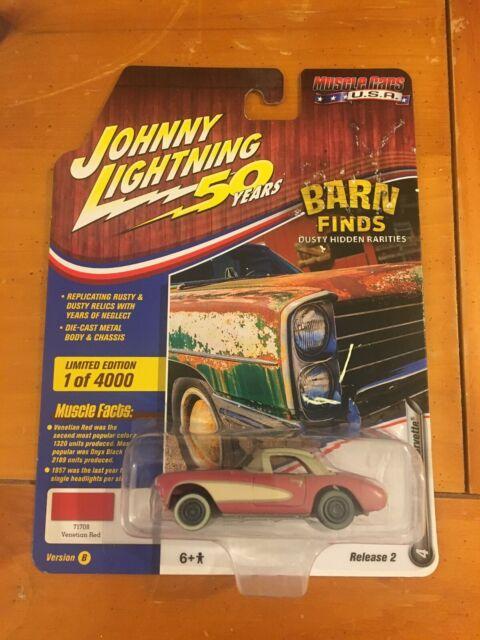 1957 Red Chevy Corvette Barn Find JOHNNY LIGHTNING DIE ...
