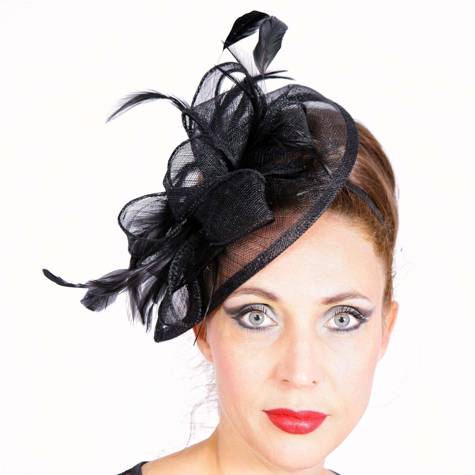 Fascinator Headband Headdress Wedding Elegant Hat Hair Accessories Black New