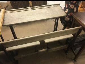 Swell Details About Vintage Double Wooden School Desk Bench With Cast Iron Legs Download Free Architecture Designs Xoliawazosbritishbridgeorg