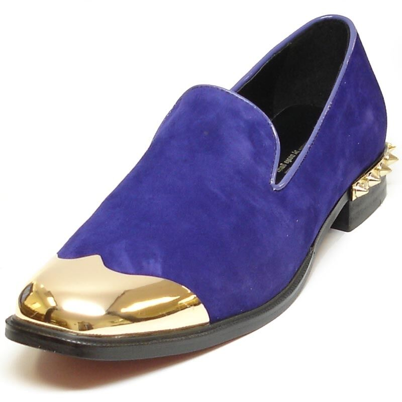 FI-6892 Purple Suede Leather Fiesso Loafer Gold Metal Tip and Gold Back Spikes Scarpe classiche da uomo