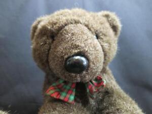 VINTAGE 1988 GANZ BROS dark BROWN TEDDY BEAR READ GREEN CHRISTMAS BOW PLUSH TOY