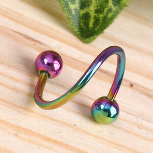1x-Colorful-Stainless-Steel-1-2-034-Twister-Earrings-Ear-Studs-Mens-Body-Piercing