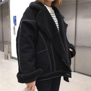 8471811367dc Fashion Womens Casual Black Denim Coat Loose Warm Thick Jean Jackets ...